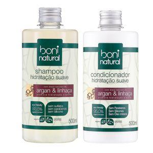 Kit-Natural-com-Shampoo-e-Condicionador-Hidratacao-Suave-Argan-e-Linhaca---Boni-Natural