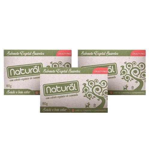 Kit-com-3-Sabonetes-Vegetal-Natural-Suavetex-com-Extrato-de-Camomila-80g---Organico-Natural