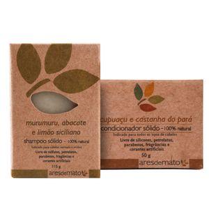 Kit-Shampoo-Solido-de-Murumuru-e-Condicionador-Solido-Natural-de-Cupuacu-para-Cabelos-Normais-e-Mistos---Ares-de-Mato
