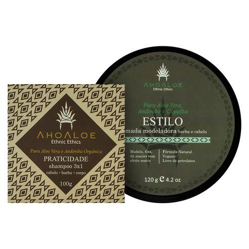 Kit-Shampoo-Solido-e-Pomada-Modeladora-Estilo---Ahoaloe