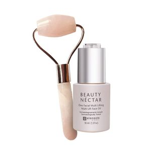 Kit-Oleo-Facial-Multi-Lifting-e-Massageador-Facial-de-Quartzo-Rosa-Roller-Elemento-Mineral