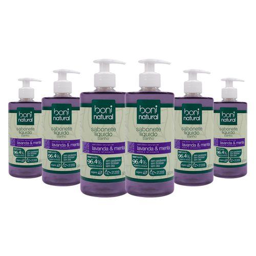 Kit-com-6-Sabonetes-Liquido-Natural-para-Banho-Lavanda-Menta-500ml-Boni-Natural
