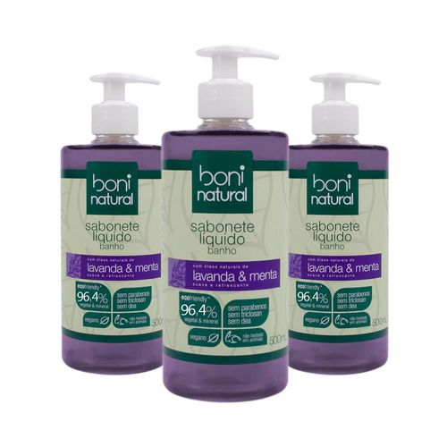 Kit-com-3-Sabonetes-Liquido-Natural-para-Banho-Lavanda-e-Menta-500ml---Boni-Natural